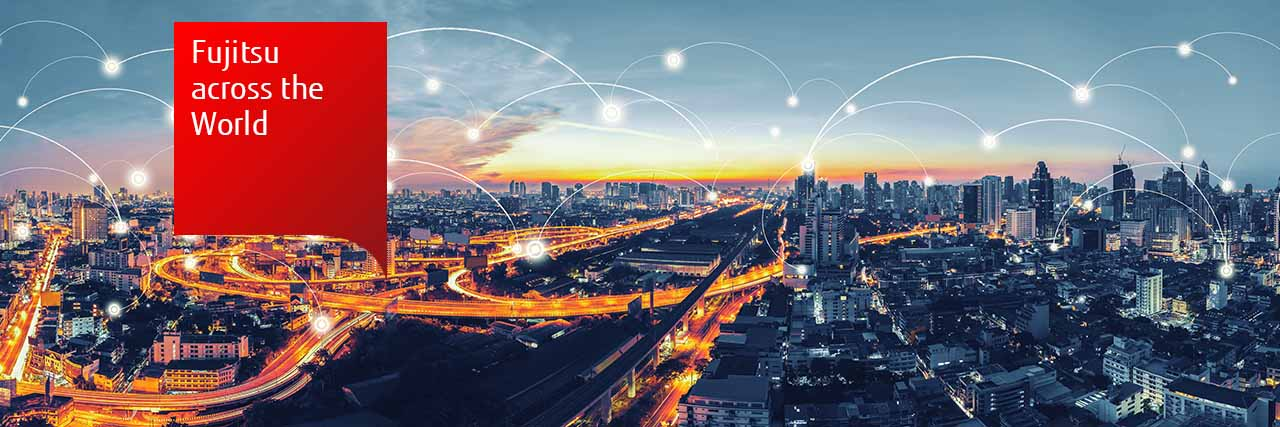 Fujitsu across the world: connected nodes laid over sunset photos of cities