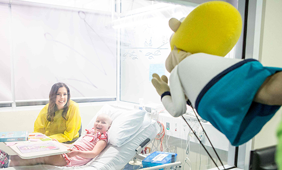 The travelling Puppets, Kylie, Dean and Mel bring smiles to the faces of Camp Quality kids undergoing treatment