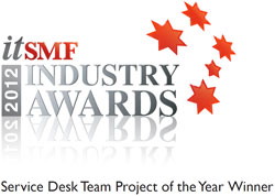 Fujitsu wins ITSMF 2012 Industry Awards - Service Desk Team Project of the Year Winner