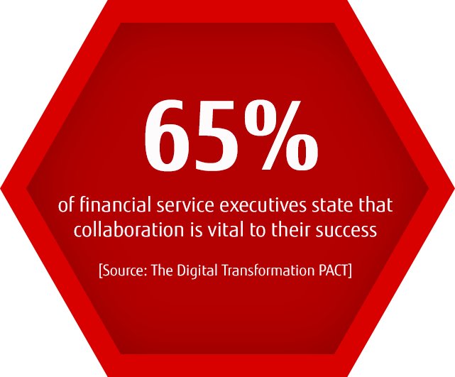 65% of financial service executives state that collaboration is vital to their success