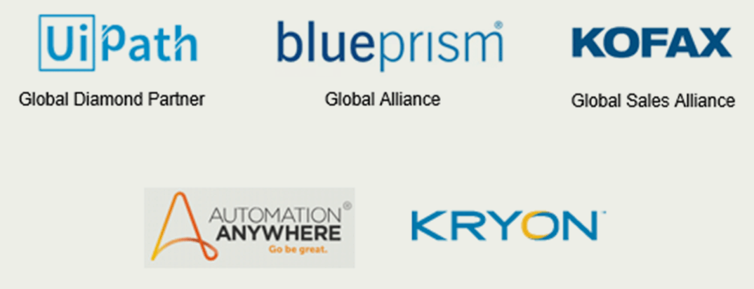 UiPath Global Diamond Partner; blueprism Global Alliance; KOFAX Global Sales Alliance; Automation Anywhere; Kryon.