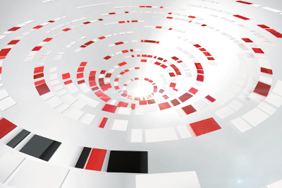 Abstract image of a spiral of red, white and gray blocks