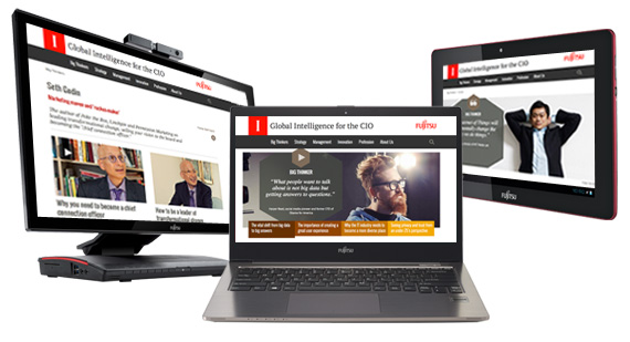 I-CIO Web site shown on a Fujitsu laptop, PC and Tablet