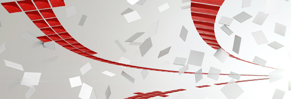 Red abstract ribbon and grey square specks