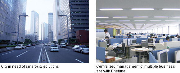 left: City in need of smart-city solutions right: Centralized management of multiple business site with Enetune