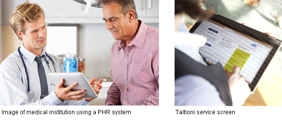 left: Image of medical institution using a PHR system right: Taltioni service screen