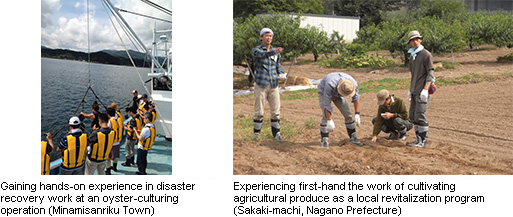 Left: Gaining hands-on experience in disaster recovery work at an oyster-culturing operation (Minamisanriku Town), Right: Experiencing first-hand the work of cultivating agricultural produce as a local revitalization program (Sakaki-machi, Nagano Prefecture)