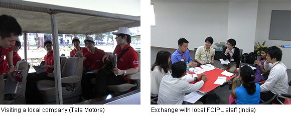 Left: Visiting a local company (Tata Motors), Right: Exchange with local FCIPL staff (India)