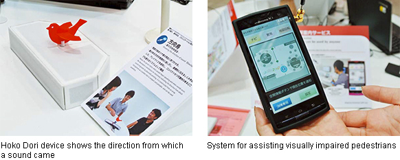 Left: Hoko Dori device shows the direction from which a sound came, Right: System for assisting visually impaired pedestrians