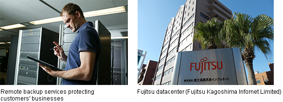 Left: Remote backup services protecting customers' businesses, Right: Fujitsu datacenter(Fujitsu Kagoshima Infornet Limited)