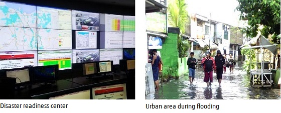 Picture: Disaster readiness center and Urban area during flooding