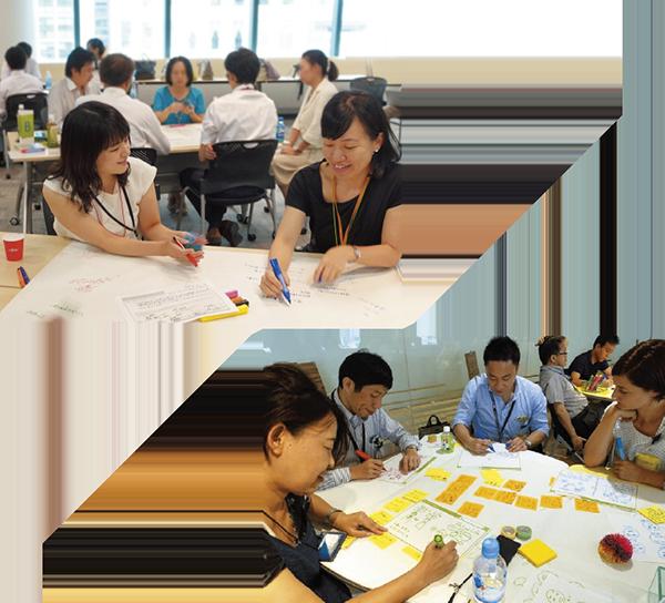 写真:ワーキンググループを開催。人事部門だけではなく、デザイン部門も参画し、そのノウハウを活用している