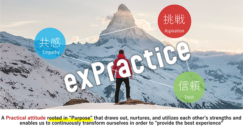"""Figure : A Practical attitude rooted in """"Purpose"""" that draws out,nurtures,and utilizes each other's strengths and enables us to continuosly transform ourseleves in order to """"provide the best experience"""""""