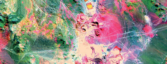 A colorful satellite image