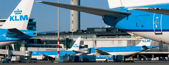KLM Airplanesa at an airport