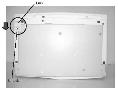 Shipping lock is located in the undersurface of the scanner body.