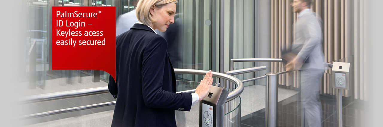 PalmSecure ID login. Keyless access easily secured. Photo of a man and woman using turnstiles with PalmSecure scanners.