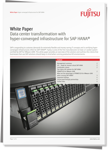 White Paper: 					Data center transformation with hyper-converged infrastructure for SAP HANA PDF