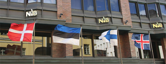 Flags in front of the Nordic Investment Bank