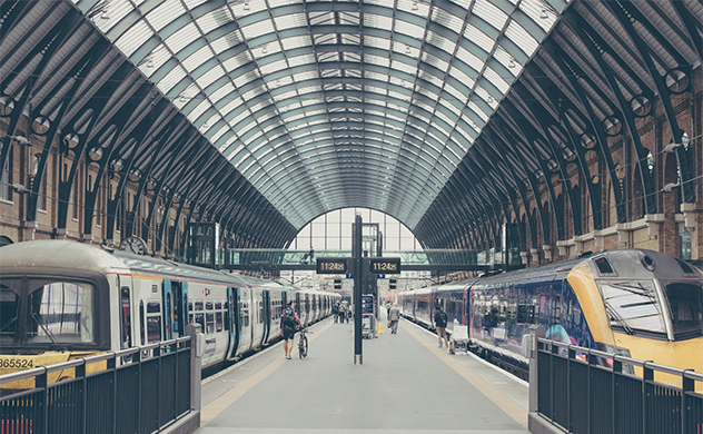 Photo of a platform and roof at King's Cross railway station in London