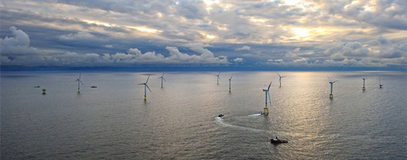 View overlooking a sea wind farm