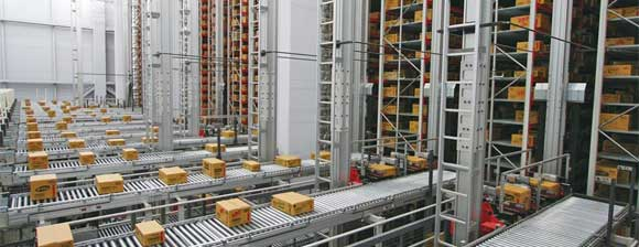 Parcels on conveyors and in racks