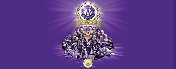 Modernize FK Austria Wien Logo and football players past and present on a purple background.