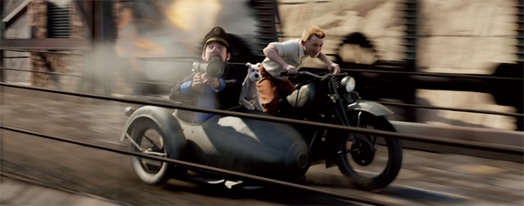 Cartoon movie scene with a motorcycle and side cart speeding along the street, the man in the side cart appears to be holding a rocket launcher and has his dog with him in the sidecart.