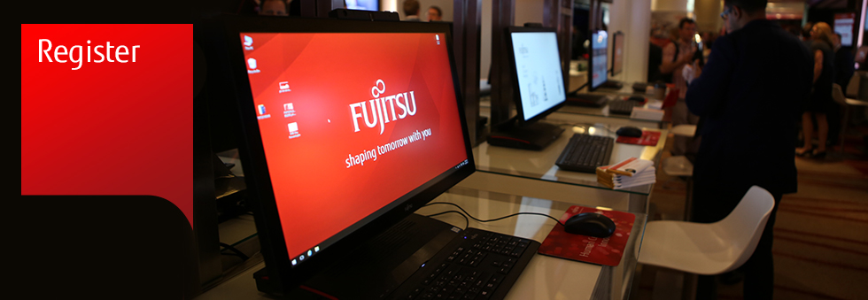 Photo of a line of Fujitsu computers. Register for Fujitsu World Tour.