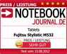"Notebookjournal.de, ""Very Good"", Fujitsu STYLISTIC M532, Germany - August 15, 2012"