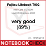 "Notebookcheck.com, ""Very Good"" (89%), Fujitsu LIFEBOOK T902, Germany - January 18, 2013"