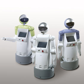 enon, Fujitsu's new service robot (Colors shown, from left:  Citrus Yellow, Lily White, Lavender Blue)