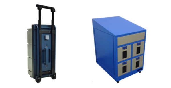 "Cassette-style battery (left), ""Charging locker"" locker-style battery charging locker (right)"