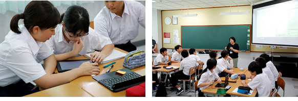 "Left: Tablets in use in the classroom , Right: Student opinions collected through ""Chietama"" are presented on screen"