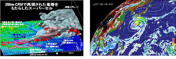 Images of the technology predicting storms and heavy rain caused by local downpours and typhoons