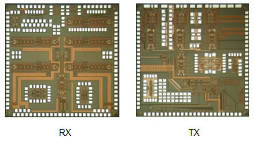 Figure 2: Image of the new CMOS receiver chip (RX) and transmitter chip (TX)