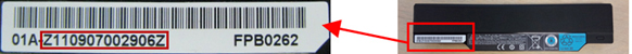 "Partial serial number: Alphanumeric characters beginning with ""Z"" after the hyphen"
