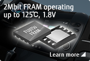 2Mbit FRAM operating up to 125℃, 1.8V