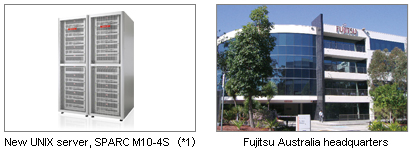 Two pictures; 1: New UNIX server SPARC M10-4S(*1). 2: Fujitsu Australia headquarters.