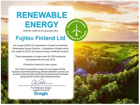Fujitsu Finland Ltd. Green Power Certificate