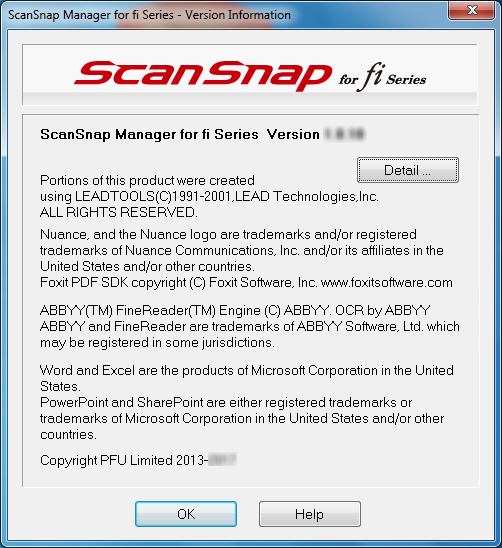 ScanSnap Manager for fi Series Version Information