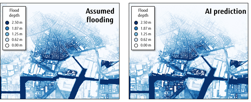 Fig 3. Comparison between anticipated flooding (tsunami source model created by Cabinet Office of Japan with tripled wave heights) of Nankai Trough Megathrust Earthquake and prediction results of newly developed AI