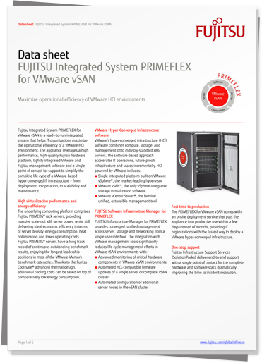 Data sheet: FUJITSU Integrated System PRIMEFLEX for VMware vSAN PDF