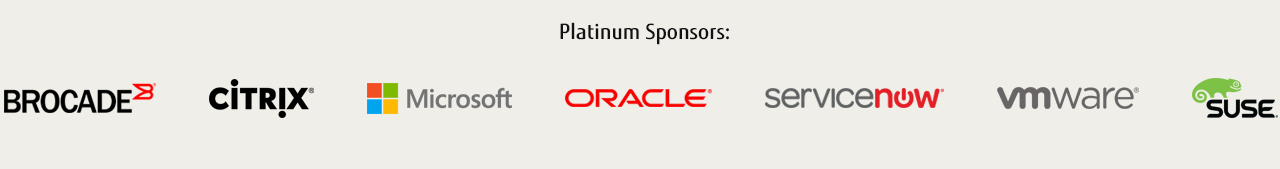 Platinum Sponsors: Brocade, Microsoft, Oracle, ServiceNow, VMWare, Suse