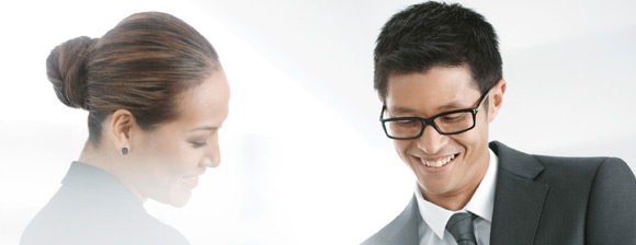 Business woman and man smiling