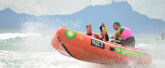 Surf rescue boat with NZCT and BP logos