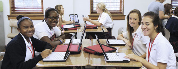 St. Joseph's Academy students with Fujitsu pen and touch tablet PCs