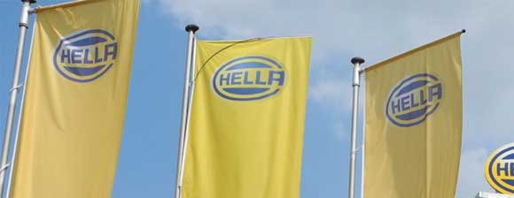Blue on yellow 'HELLA' flags