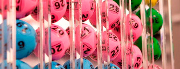 Close-up of brightly coloured lottery balls