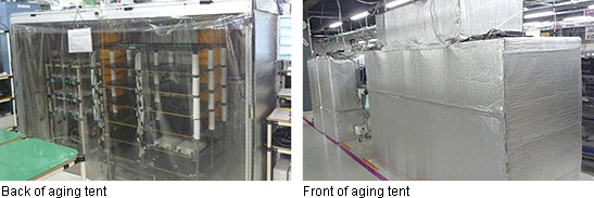 Picture: Front of aging tent & Back of aging tent